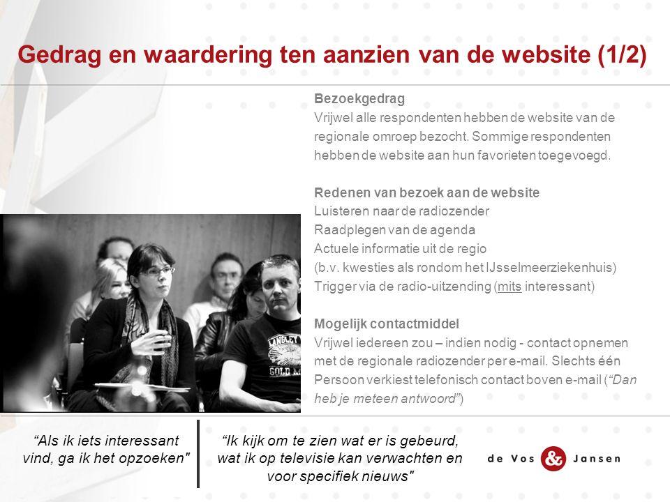 Gedrag en waardering ten aanzien van de website (1/2) Bezoekgedrag Vrijwel alle respondenten hebben de website van de regionale omroep bezocht.