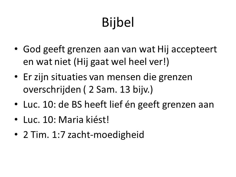 Bijbel God geeft grenzen aan van wat Hij accepteert en wat niet (Hij gaat wel heel ver!) Er zijn situaties van mensen die grenzen overschrijden ( 2 Sam.