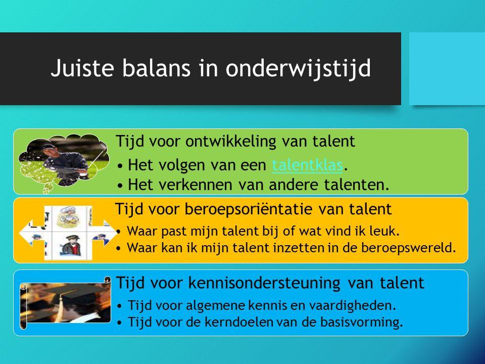 Juiste balans in onderwijstijd Tijd voor ontwikkeling van talent Het volgen van een talentklas.talentklas Het verkennen van andere talenten.