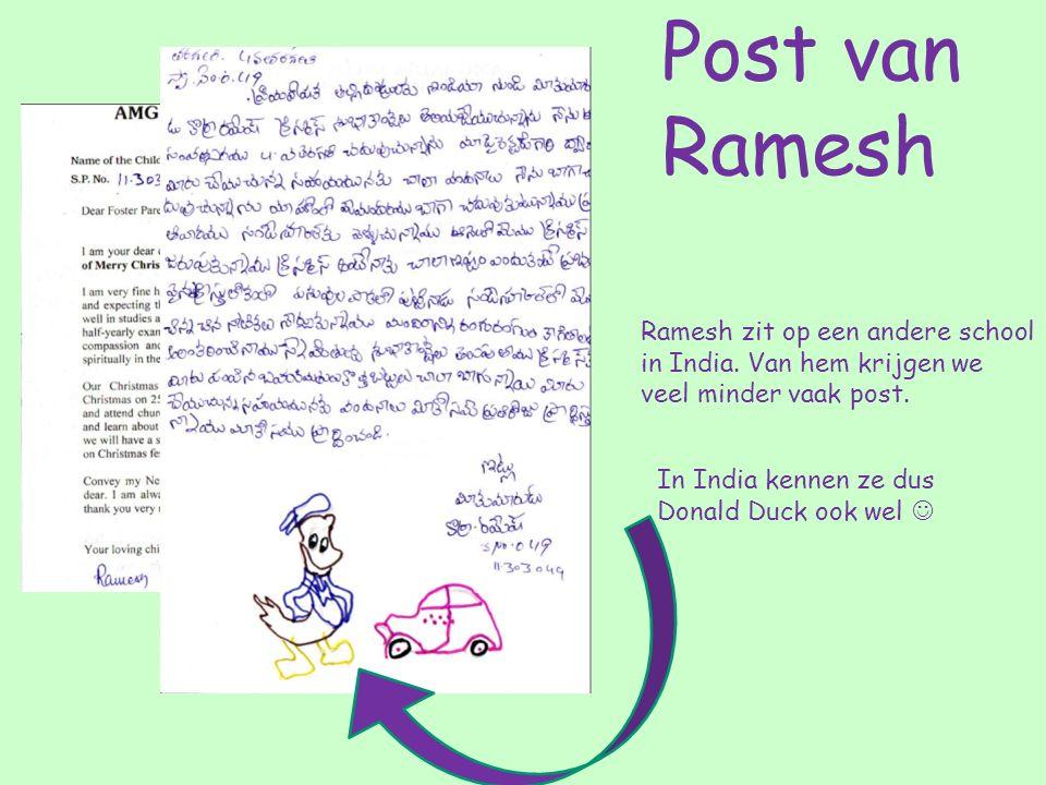Ramesh zit op een andere school in India. Van hem krijgen we veel minder vaak post.