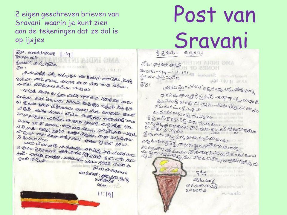 2 eigen geschreven brieven van Sravani waarin je kunt zien aan de tekeningen dat ze dol is op ijsjes Post van Sravani