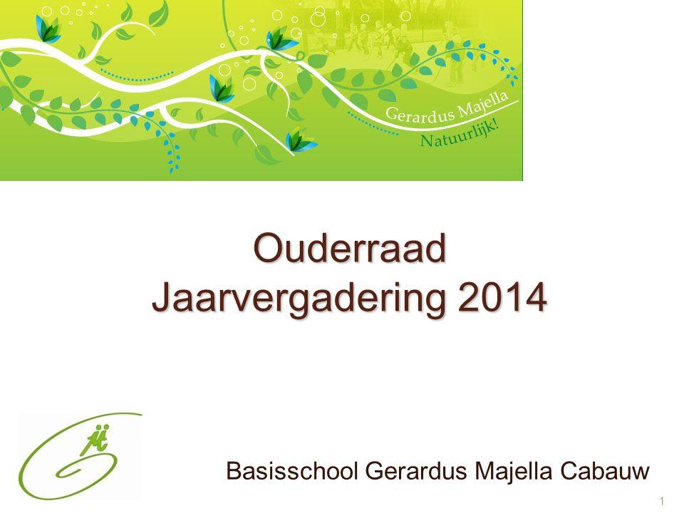 1 Ouderraad Jaarvergadering 2014 Basisschool Gerardus Majella Cabauw