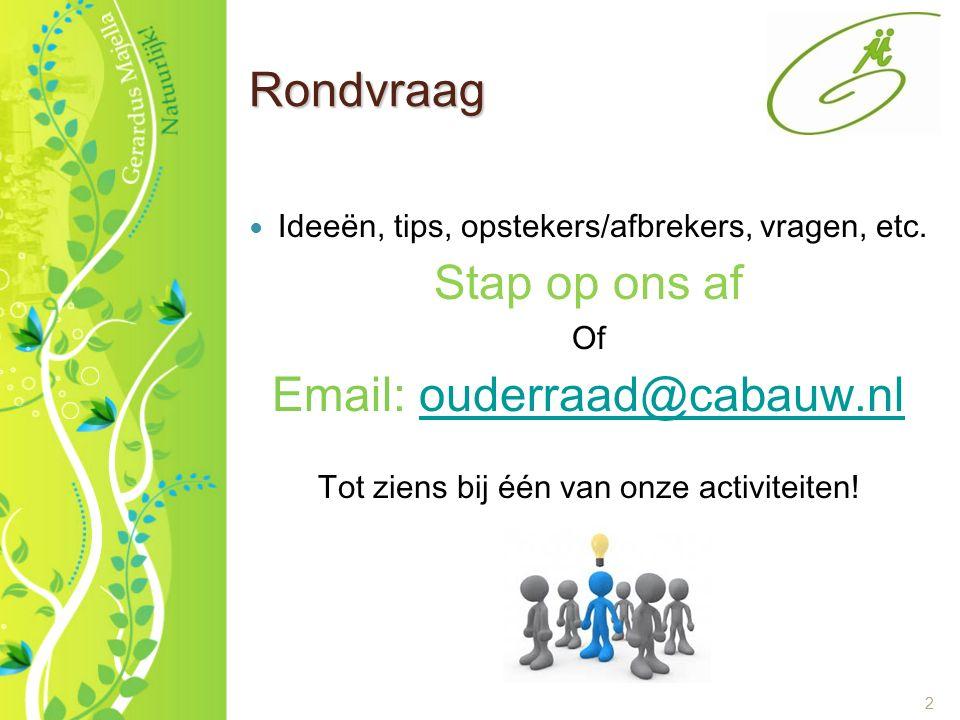 2 Rondvraag Ideeën, tips, opstekers/afbrekers, vragen, etc. Stap op ons af Of Email: ouderraad@cabauw.nlouderraad@cabauw.nl Tot ziens bij één van onze
