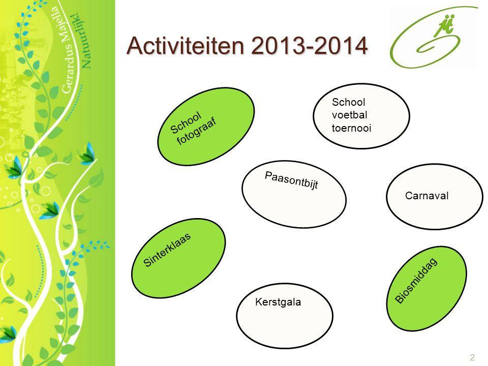 2 Activiteiten 2013-2014 School voetbal toernooi Carnaval Paasontbijt Biosmiddag Kerstgala Sinterklaas School fotograaf