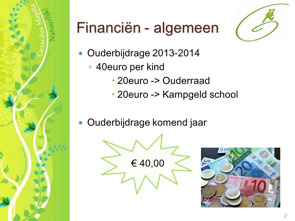 2 Financiën - algemeen Ouderbijdrage 2013-2014 ◦ 40euro per kind  20euro -> Ouderraad  20euro -> Kampgeld school Ouderbijdrage komend jaar € 40,00