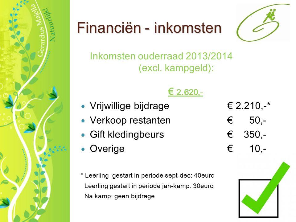 2 Financiën - inkomsten Inkomsten ouderraad 2013/2014 (excl. kampgeld): € 2.620,- Vrijwillige bijdrage€ 2.210,-* Verkoop restanten€ 50,- Gift kledingb