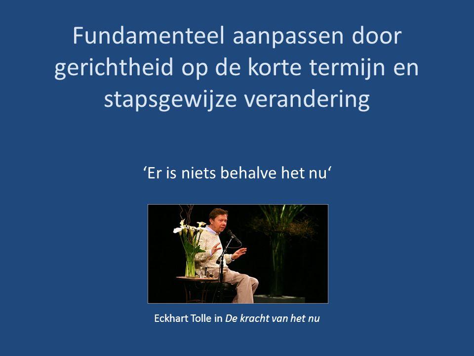 Fundamenteel aanpassen door gerichtheid op de korte termijn en stapsgewijze verandering 'Er is niets behalve het nu' Eckhart Tolle in De kracht van het nu