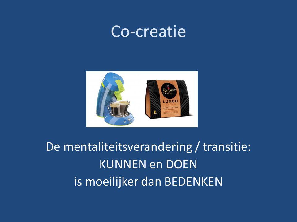 Co-creatie De mentaliteitsverandering / transitie: KUNNEN en DOEN is moeilijker dan BEDENKEN