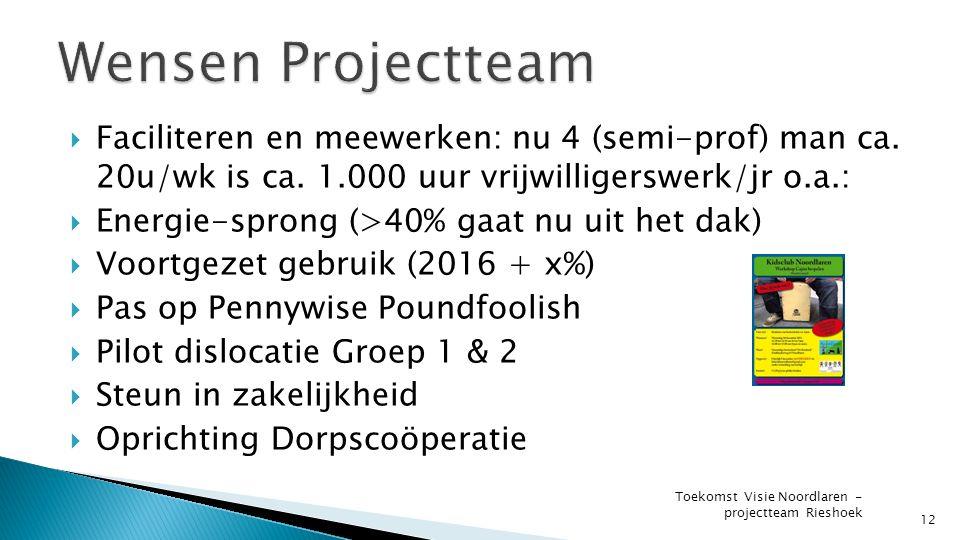 12 Toekomst Visie Noordlaren - projectteam Rieshoek  Faciliteren en meewerken: nu 4 (semi-prof) man ca.