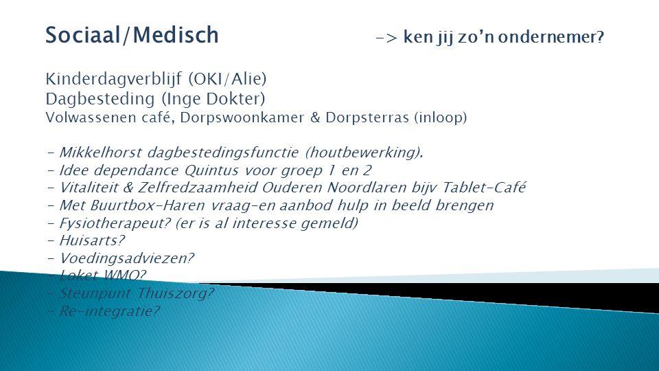 Sociaal/Medisch -> ken jij zo'n ondernemer.