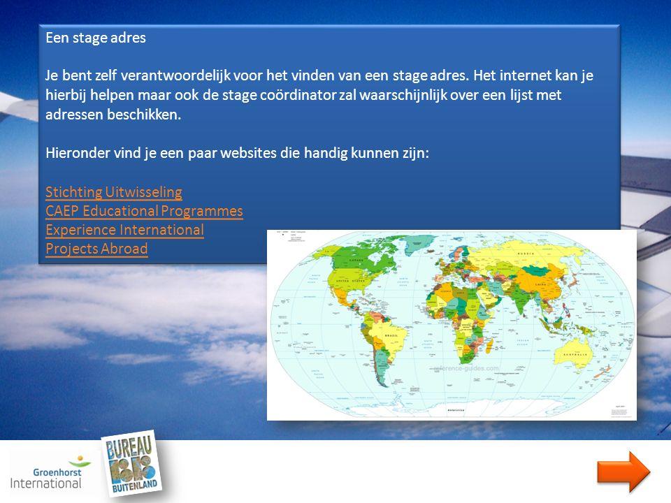 Begeleiding Je kunt pas op buitenlandstage als je mentor daar van op de hoogte is en toestemming gegeven heeft.
