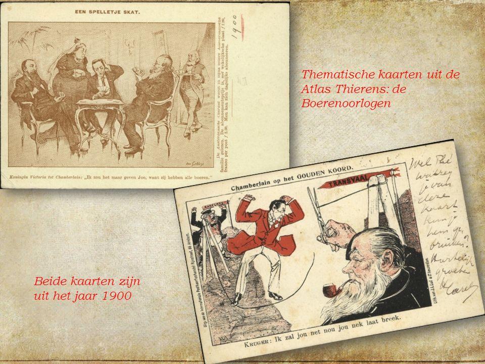 Thematische kaarten uit de Atlas Thierens: de Boerenoorlogen Beide kaarten zijn uit het jaar 1900