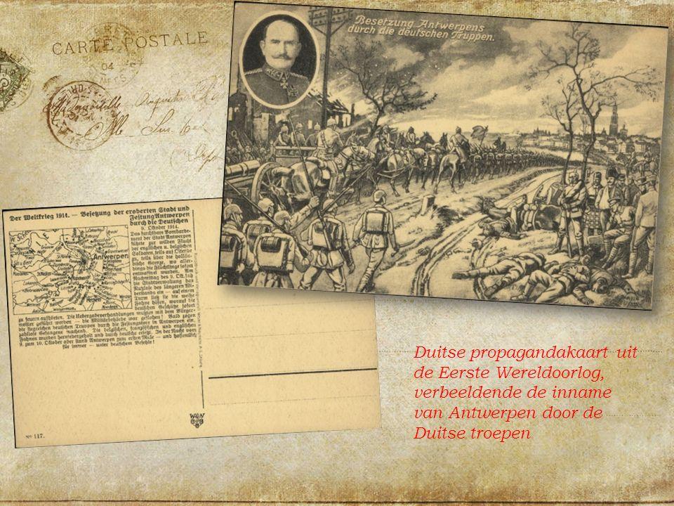 Duitse propagandakaart uit de Eerste Wereldoorlog, verbeeldende de inname van Antwerpen door de Duitse troepen