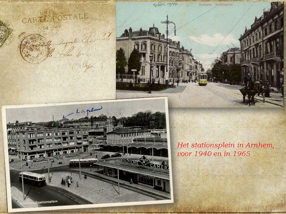 Het stationsplein in Arnhem, voor 1940 en in 1965