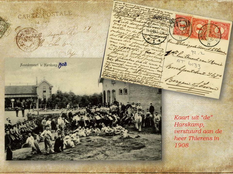 Kaart uit de Harskamp, verstuurd aan de heer Thierens in 1908