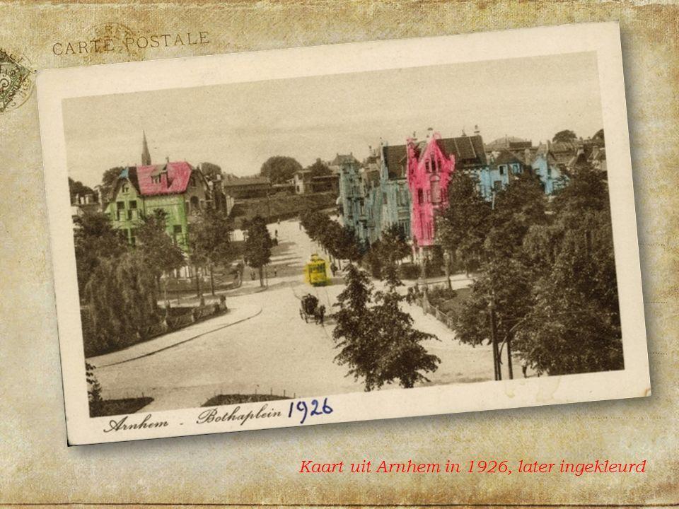 Kaart uit Arnhem in 1926, later ingekleurd