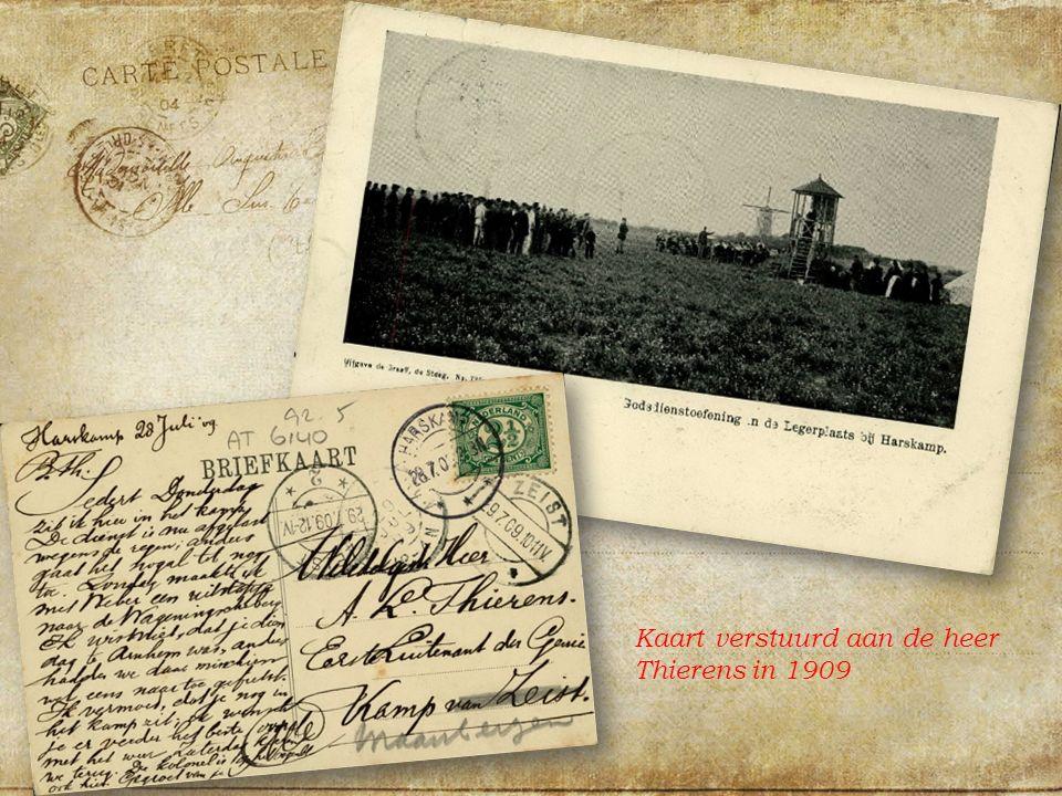 Kaart verstuurd aan de heer Thierens in 1909