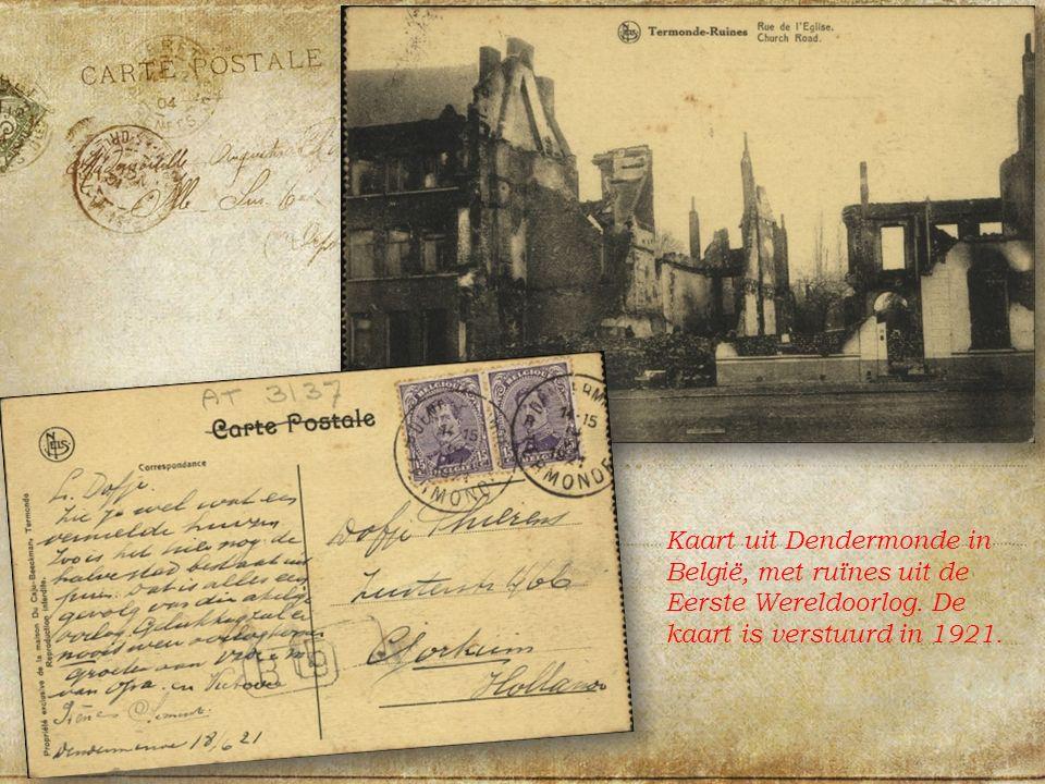 Kaart uit Dendermonde in België, met ruïnes uit de Eerste Wereldoorlog.