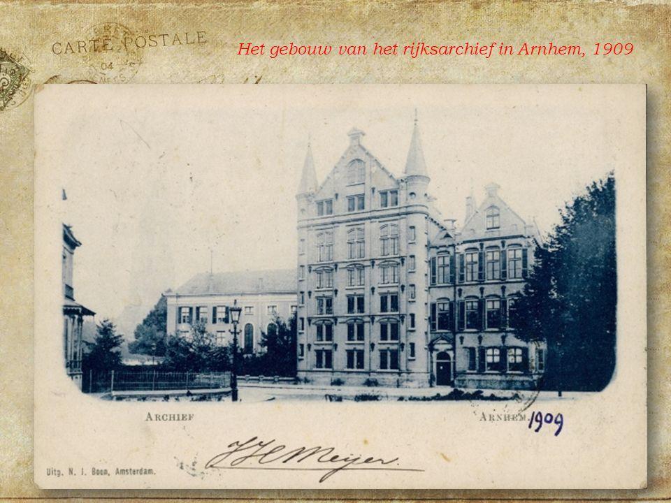 Het gebouw van het rijksarchief in Arnhem, 1909