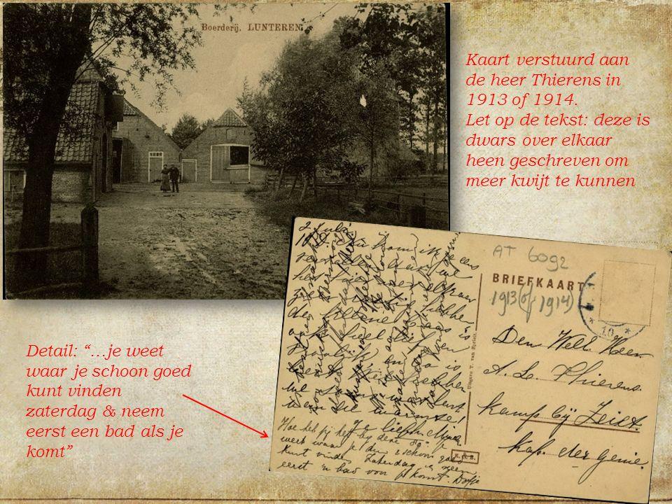 Kaart verstuurd aan de heer Thierens in 1913 of 1914.