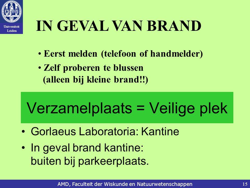 Universiteit Leiden AMD, Faculteit der Wiskunde en Natuurwetenschappen15 Verzamelplaats = Veilige plek Gorlaeus Laboratoria: Kantine In geval brand ka
