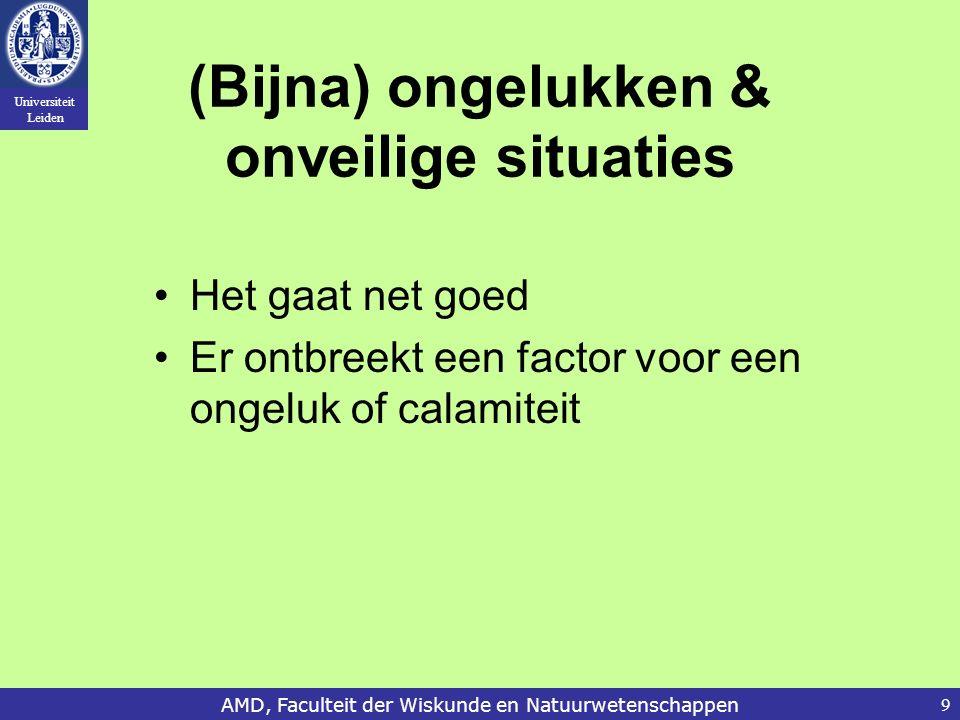 Universiteit Leiden AMD, Faculteit der Wiskunde en Natuurwetenschappen9 (Bijna) ongelukken & onveilige situaties Het gaat net goed Er ontbreekt een fa
