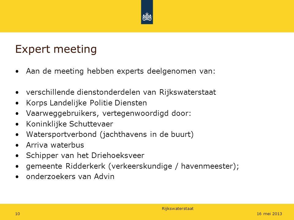 Rijkswaterstaat 1016 mei 2013 Expert meeting Aan de meeting hebben experts deelgenomen van: verschillende dienstonderdelen van Rijkswaterstaat Korps L
