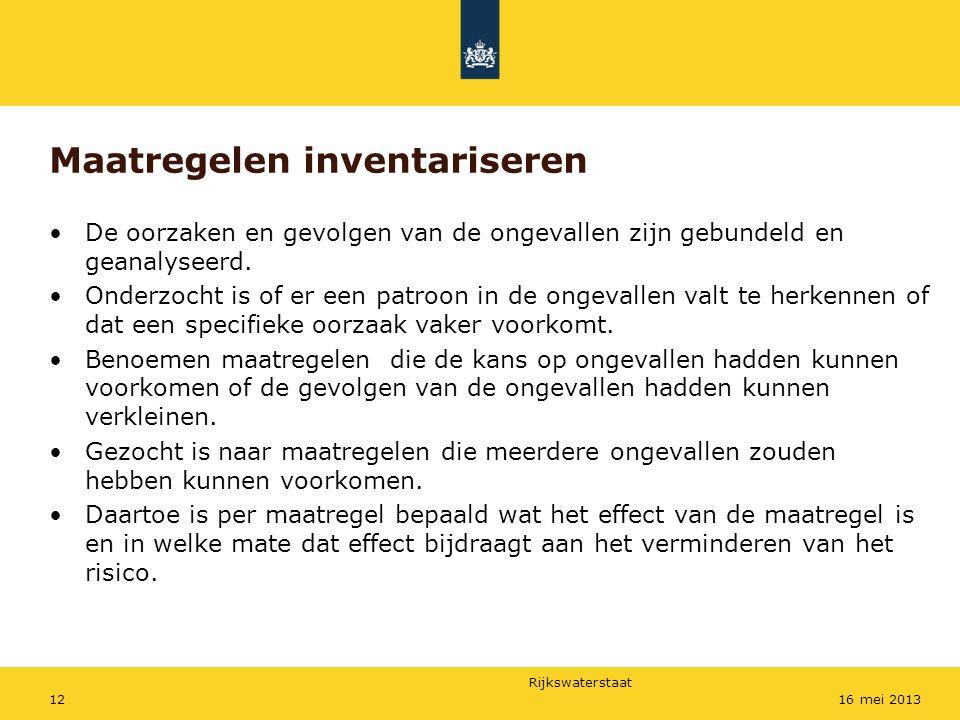 Rijkswaterstaat 1216 mei 2013 Maatregelen inventariseren De oorzaken en gevolgen van de ongevallen zijn gebundeld en geanalyseerd. Onderzocht is of er