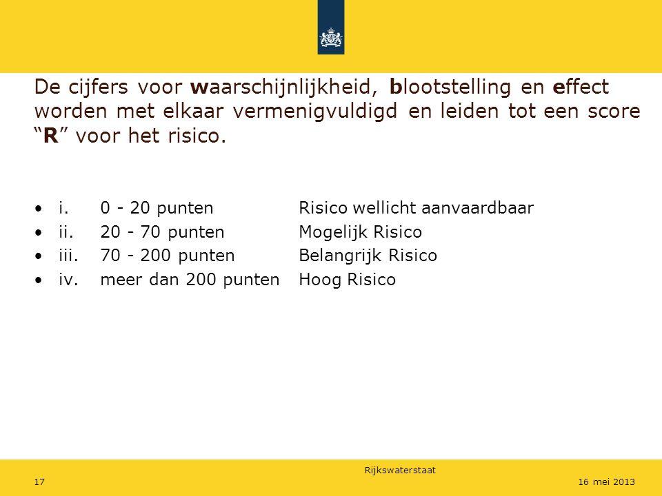 """Rijkswaterstaat 1716 mei 2013 De cijfers voor waarschijnlijkheid, blootstelling en effect worden met elkaar vermenigvuldigd en leiden tot een score """"R"""