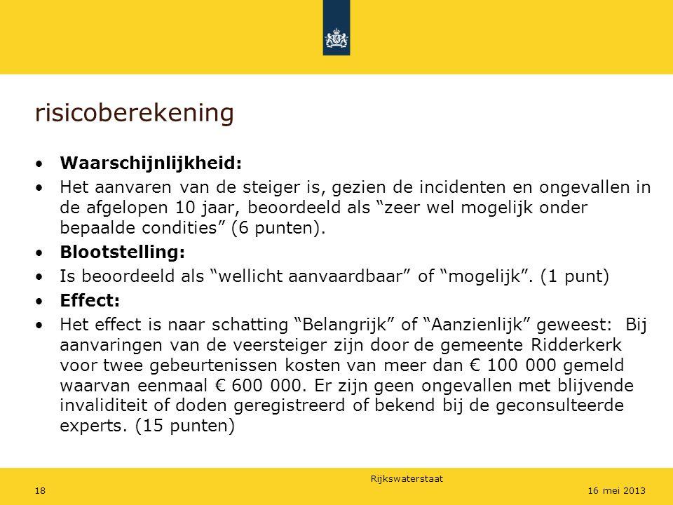 Rijkswaterstaat 1816 mei 2013 risicoberekening Waarschijnlijkheid: Het aanvaren van de steiger is, gezien de incidenten en ongevallen in de afgelopen