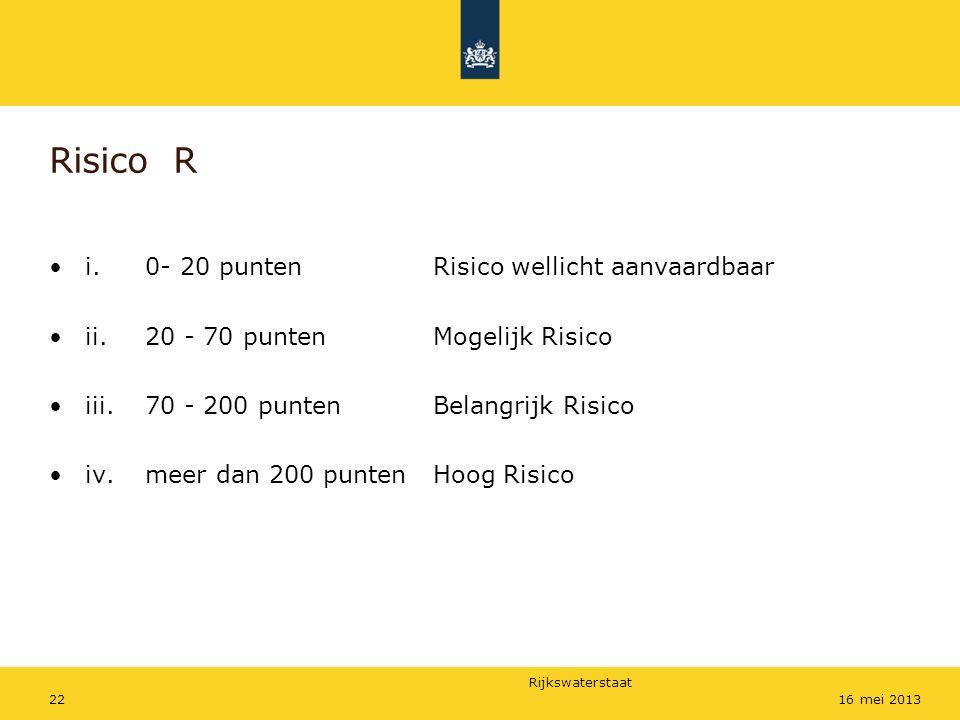 Rijkswaterstaat 2216 mei 2013 Risico R i.0- 20 puntenRisico wellicht aanvaardbaar ii. 20 - 70 punten Mogelijk Risico iii. 70 - 200 punten Belangrijk R