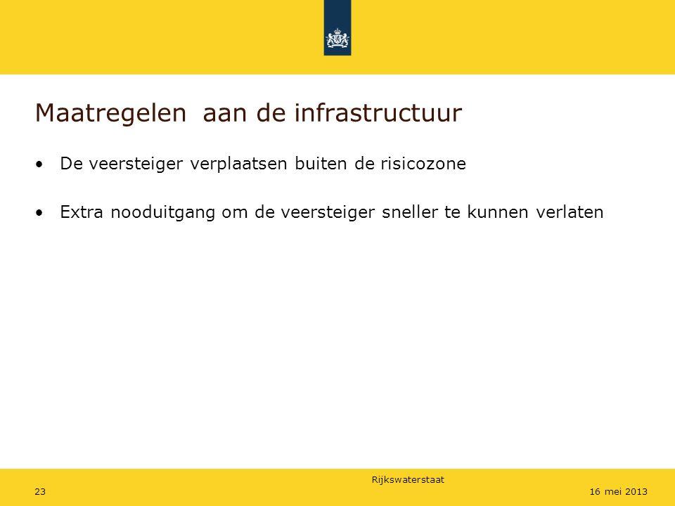 Rijkswaterstaat 2316 mei 2013 Maatregelen aan de infrastructuur De veersteiger verplaatsen buiten de risicozone Extra nooduitgang om de veersteiger sn