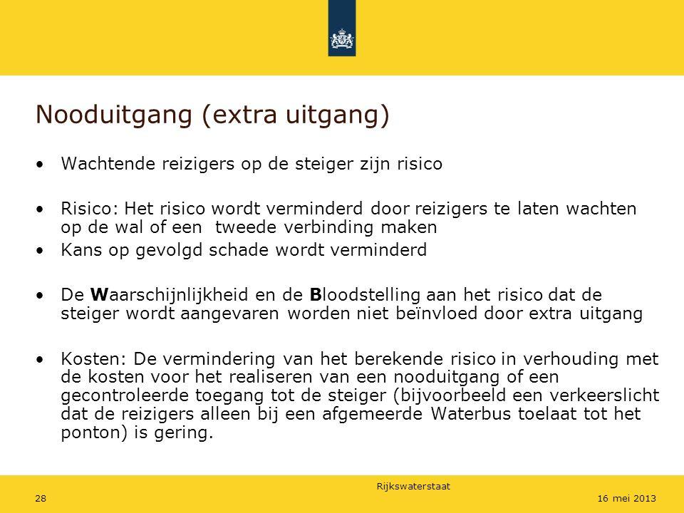 Rijkswaterstaat 2816 mei 2013 Nooduitgang (extra uitgang) Wachtende reizigers op de steiger zijn risico Risico: Het risico wordt verminderd door reizi