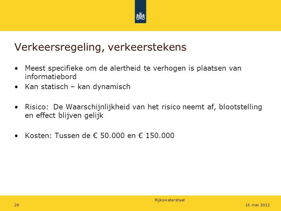 Rijkswaterstaat 2916 mei 2013 Verkeersregeling, verkeerstekens Meest specifieke om de alertheid te verhogen is plaatsen van informatiebord Kan statisc