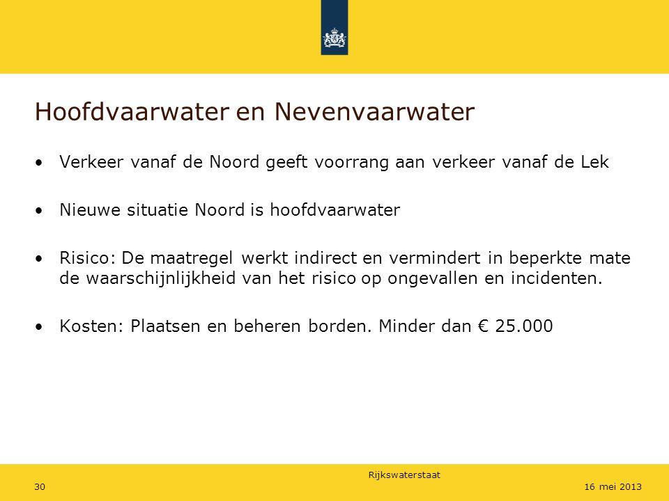 Rijkswaterstaat 3016 mei 2013 Hoofdvaarwater en Nevenvaarwater Verkeer vanaf de Noord geeft voorrang aan verkeer vanaf de Lek Nieuwe situatie Noord is