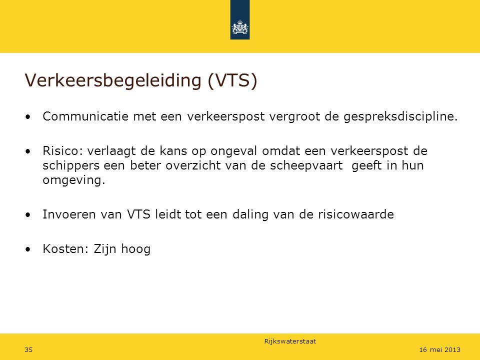 Rijkswaterstaat 3516 mei 2013 Verkeersbegeleiding (VTS) Communicatie met een verkeerspost vergroot de gespreksdiscipline. Risico: verlaagt de kans op