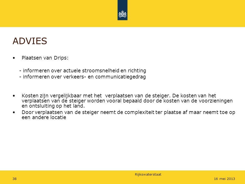 Rijkswaterstaat 3816 mei 2013 ADVIES Plaatsen van Drips: - informeren over actuele stroomsnelheid en richting - informeren over verkeers- en communica