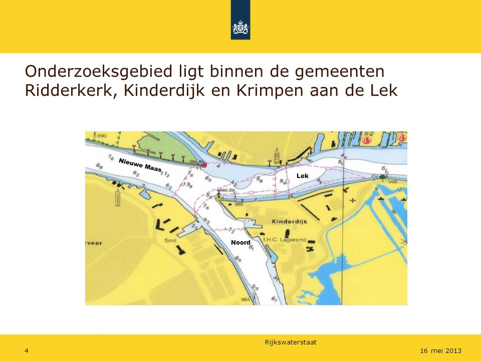 Rijkswaterstaat 516 mei 2013 Onderzoeksmethode Geregistreerde ongevallen en incidenten Onderzoek toe- of afname van de scheepvaart Expertmeeting gehouden Inventariseren van maatregelen Kwalificeren van de risico's Kans op ongevallen volgens bepaalde methode gekwantificeerd (Fine & Kinney) Op basis van berekende beperkingen van de risico's is een aanbeveling opgesteld om de risico's te verminderen en veiligheid te verbeteren.