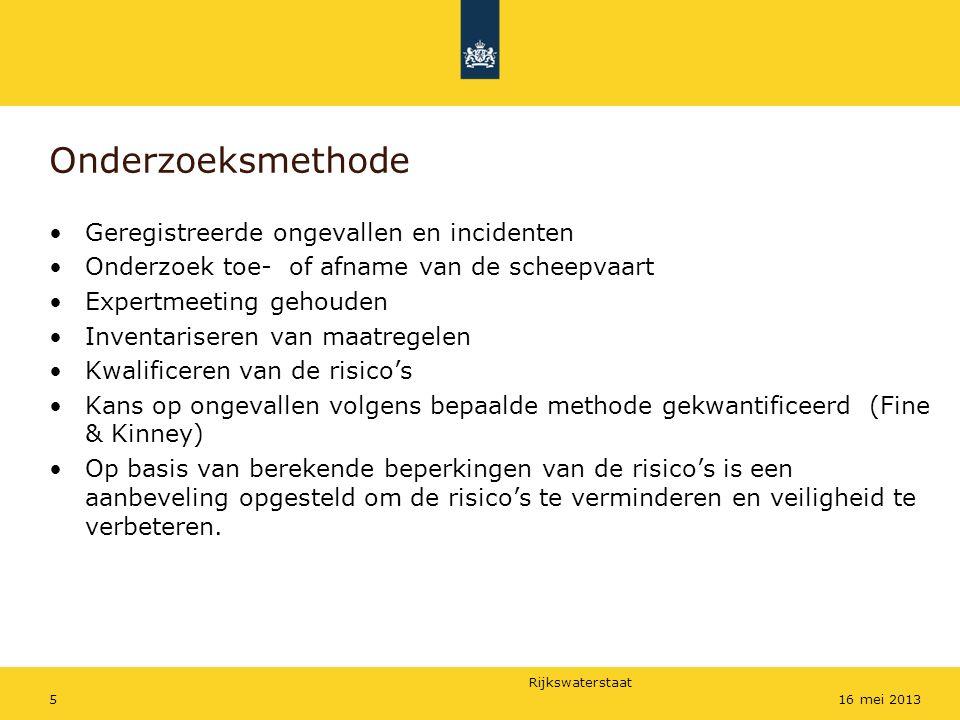 Rijkswaterstaat 516 mei 2013 Onderzoeksmethode Geregistreerde ongevallen en incidenten Onderzoek toe- of afname van de scheepvaart Expertmeeting gehou