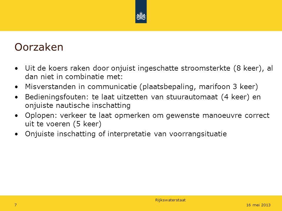 Rijkswaterstaat 716 mei 2013 Oorzaken Uit de koers raken door onjuist ingeschatte stroomsterkte (8 keer), al dan niet in combinatie met: Misverstanden