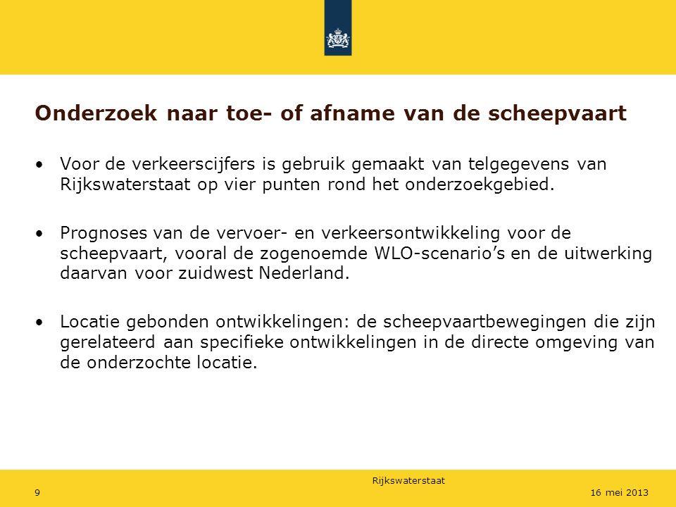 Rijkswaterstaat 916 mei 2013 Onderzoek naar toe- of afname van de scheepvaart Voor de verkeerscijfers is gebruik gemaakt van telgegevens van Rijkswate