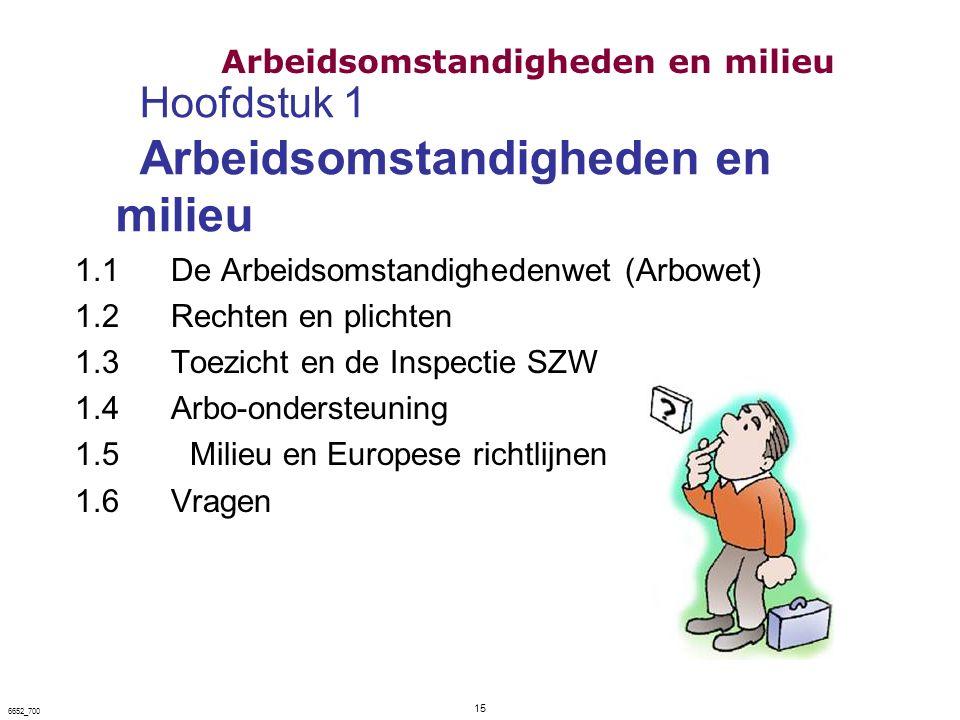 Hoofdstuk 1 Arbeidsomstandigheden en milieu 1.1De Arbeidsomstandighedenwet (Arbowet) 1.2Rechten en plichten 1.3Toezicht en de Inspectie SZW 1.4Arbo-on