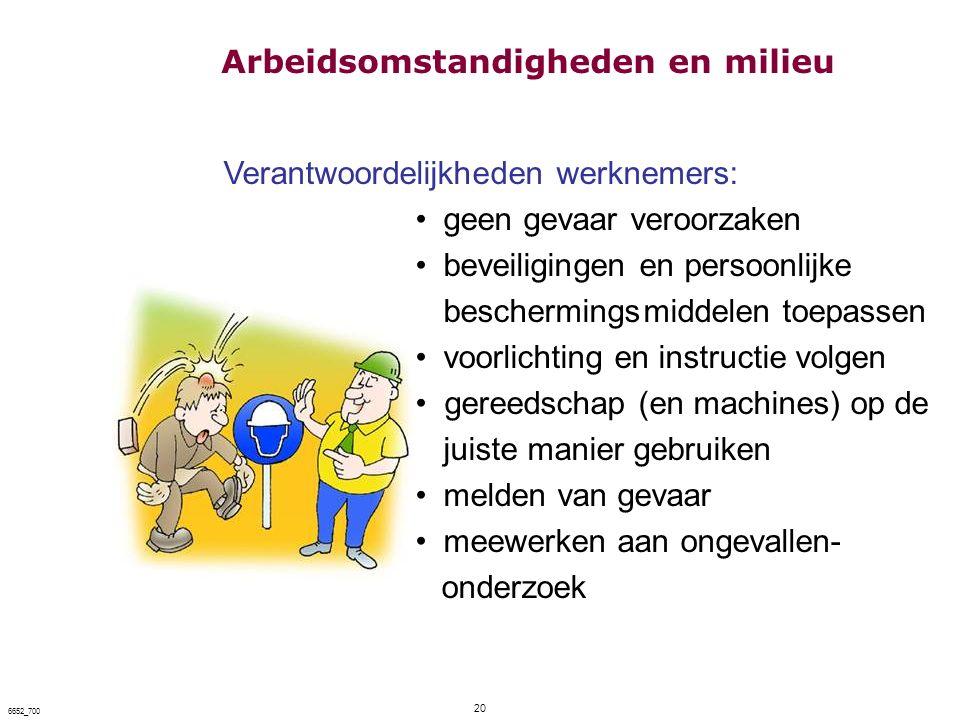 20 6652_700 Verantwoordelijkheden werknemers: geen gevaar veroorzaken beveiligingen en persoonlijke beschermingsmiddelen toepassen voorlichting en ins