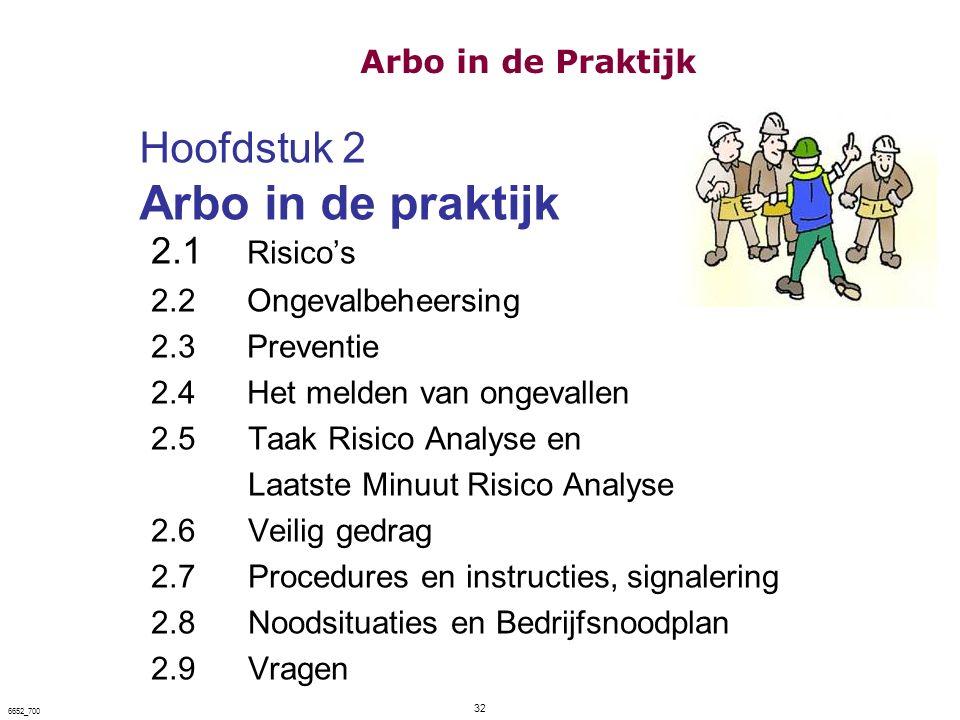 Hoofdstuk 2 Arbo in de praktijk 2.1 Risico's 2.2Ongevalbeheersing 2.3Preventie 2.4Het melden van ongevallen 2.5 Taak Risico Analyse en Laatste Minuut