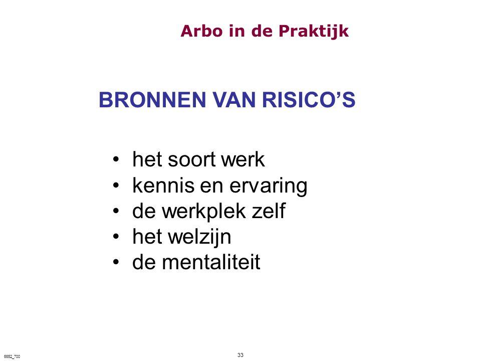 33 6652_700 BRONNEN VAN RISICO'S het soort werk kennis en ervaring de werkplek zelf het welzijn de mentaliteit Arbo in de Praktijk