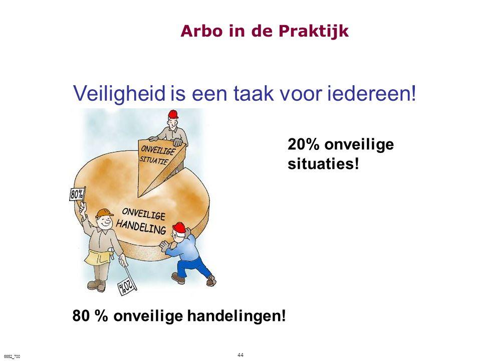 44 6652_700 Veiligheid is een taak voor iedereen! 80 % onveilige handelingen! 20% onveilige situaties! Arbo in de Praktijk