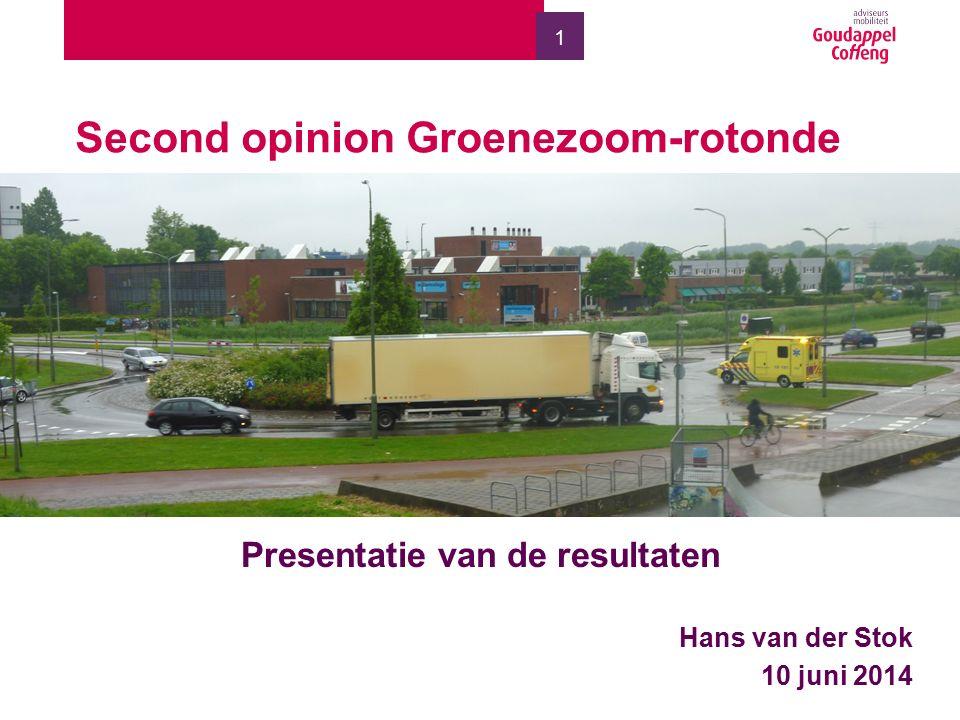 1 Second opinion Groenezoom-rotonde Presentatie van de resultaten Hans van der Stok 10 juni 2014