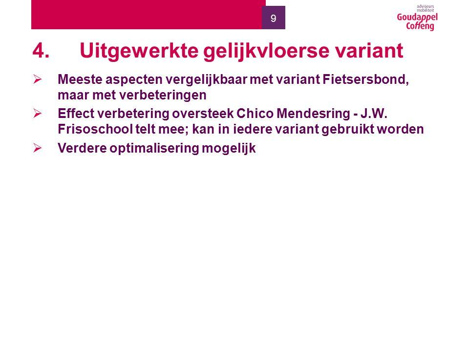 9 4.Uitgewerkte gelijkvloerse variant  Meeste aspecten vergelijkbaar met variant Fietsersbond, maar met verbeteringen  Effect verbetering oversteek Chico Mendesring - J.W.