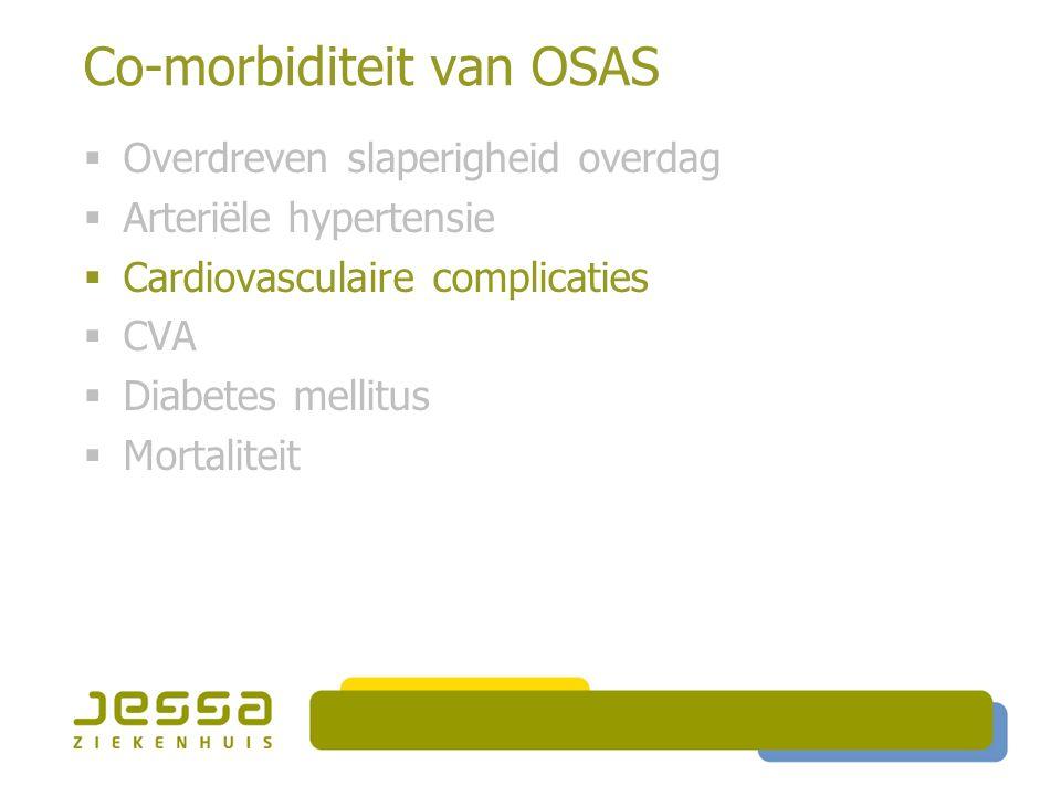 Co-morbiditeit van OSAS  Overdreven slaperigheid overdag  Arteriële hypertensie  Cardiovasculaire complicaties  CVA  Diabetes mellitus  Mortaliteit
