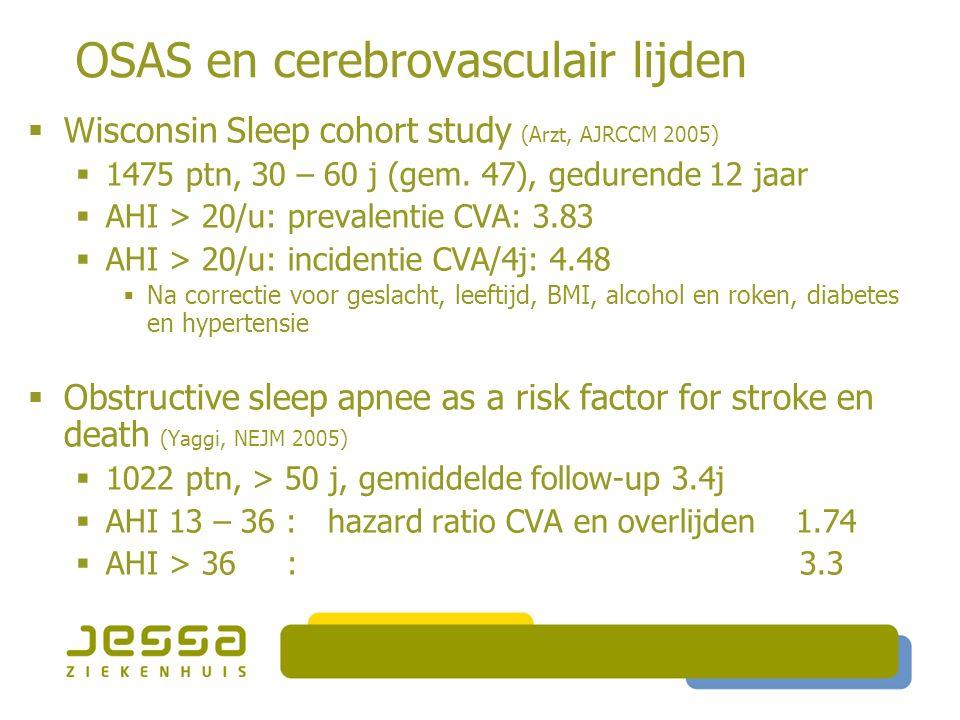 OSAS en cerebrovasculair lijden  Wisconsin Sleep cohort study (Arzt, AJRCCM 2005)  1475 ptn, 30 – 60 j (gem.